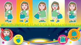 Female Shopping Bag Banner Card_eps Royalty Free Stock Images