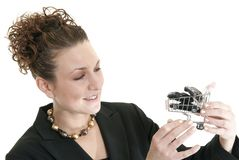 Female shopping for cars Royalty Free Stock Photo