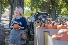 Female Shopping For Halloween Pumpkin Stock Image