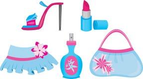 Female shopping icons set Stock Image