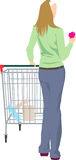 Female with shopping trolley Stock Photos