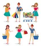 Female shopping vector characters set. Girl shopper holding shopping bags vector illustration