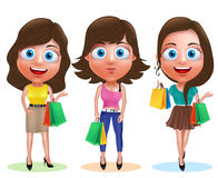Female shopping vector characters set. Woman holding shopping bags Royalty Free Stock Photo