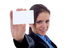 Female showing a blank bussiness card Royalty Free Stock Photo