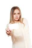Female showing blank credit card Stock Photography