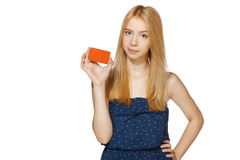 Female showing blank credit card Royalty Free Stock Images