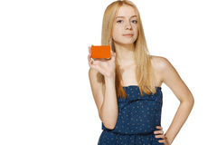 Female showing blank credit card Royalty Free Stock Image
