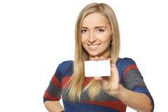 Female showing credit card Royalty Free Stock Images
