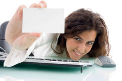 Female showing her business card Royalty Free Stock Images