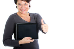 Female showing her tablet Royalty Free Stock Image