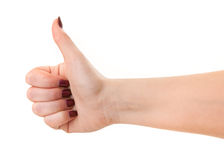 Female showing ok sign Stock Photo