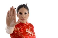 Female showing stopping hand gesture Stock Photo