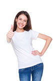 Female showing thumbs up. Laughing female showing thumbs up. studio shot over white background stock photos