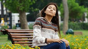 Female And Shyness. A young teen hispanic female Royalty Free Stock Images