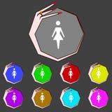 Female sign icon. Woman human symbol. Women toilet Stock Photo