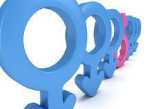 Female sign in row of Male signs. Royalty Free Stock Image