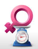 Female sign on scale pan. Weighing woman symbol on scales. Qualitative vector (EPS-10) illustration about womans biology and health, woman psychology (mother Stock Image