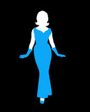 Female silhouette. An image showing an illustration of a lady in a blue dress with matching blue gloves. Female silhouette Royalty Free Stock Photos