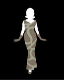 Female silhouette. An image of a lady with an evening dress on designed using grey circles and lines pattern. Female silhouette Stock Photography