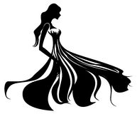 Female silhouette. Illustration drawing of beautiful black female silhouette Royalty Free Stock Image
