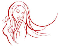 Female silhouette. Hand drawn female  silhouette with long hair Royalty Free Stock Photos