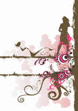 Female silhouette. Illustration of a female silhouette and decorative patterns Stock Image
