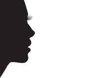 Female silhouette. Drawing, profile black woman on a white background Stock Image