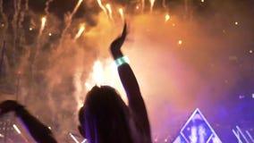 Female Silhouette Against Fireworks