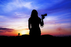 Female silhouette against the sky Royalty Free Stock Photography