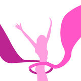 Female Silhouette Arms Up Pink Ribbon Breast Stock Photo
