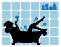 Female silhouette in the bathroom. Elegant female silhouette on the bathroom walls and a tiled background tubes of body care Stock Photography