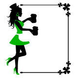 Female silhouette with beer mugs and frame with clover Stock Photo