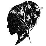 Female silhouette with birds. Silhouette of a female head with the night sky, moon, branches and birds Stock Photography