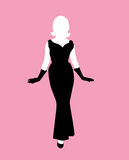 Female silhouette black dress Royalty Free Stock Images