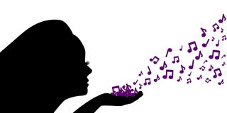 Female silhouette blows the purple notes from her palm vector illustration