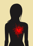 Female silhouette and broken heart Royalty Free Stock Photography