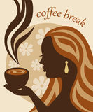 Female silhouette with a cup of coffee in hand Stock Photography