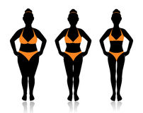 Female silhouette in different weights. Female silhouette in a bathing suit at a different weight and the effect of diet Stock Photos