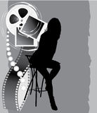 Female silhouette and film objects Stock Images