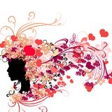 Female silhouette with floral hairstyle and Valentine's hearts Stock Image