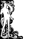 Female Silhouette Flourish Border 2. A clip art illustration featuring a female body integrated into the design of black and white flourishes as a border Stock Photo