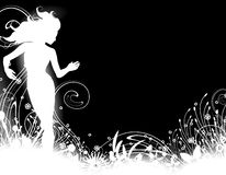 Female Silhouette Garden. An illustration featuring a female silhouette as standing in a garden - white on black Royalty Free Stock Photos