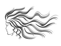 Female silhouette head with flowing hair. Black and grey silhouette of female head with flowing hair, hand drawing vector illustration royalty free illustration
