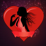 Female silhouette with a heart Royalty Free Stock Images
