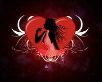 Female silhouette with a heart Stock Images
