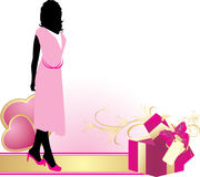 Female silhouette with hearts and decorative box Royalty Free Stock Photo