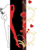 Female silhouette and hearts with ornament Royalty Free Stock Image