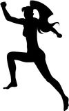 Female silhouette. An image of jumping lady with long hair. Female silhouette, isolated Stock Images