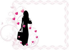 Female Silhouette In The Frame With Hearts Royalty Free Stock Photography
