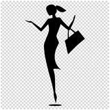 Female silhouette isolated. Vector illustration of black and white. Female silhouette, fashion girls shopping. Vector illustration Stock Image